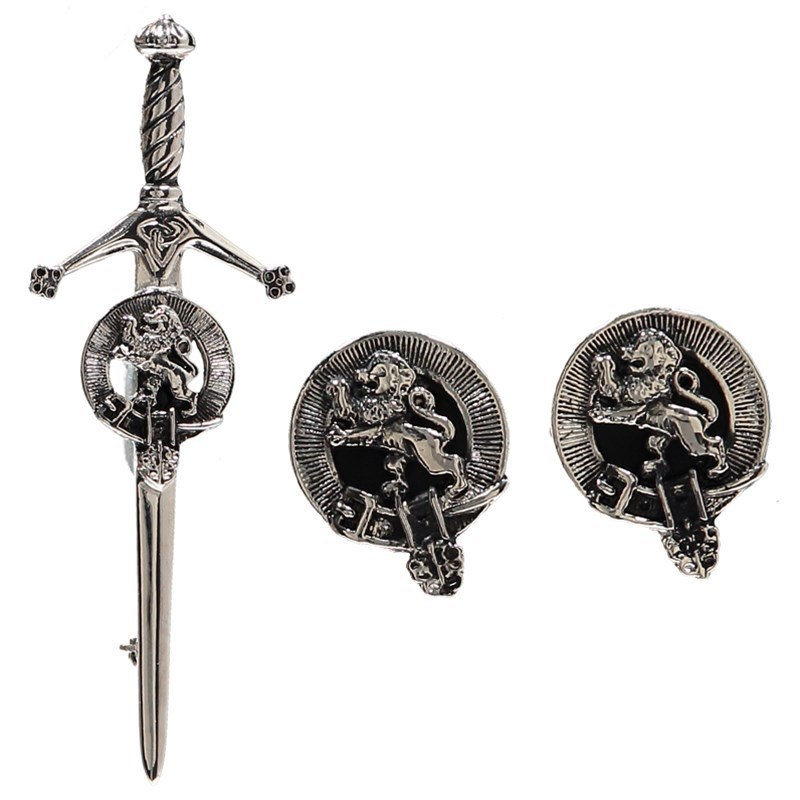 Clan Crest Boutons de manchette et Epingle de Kilt in Lion Rampant Clan Crest