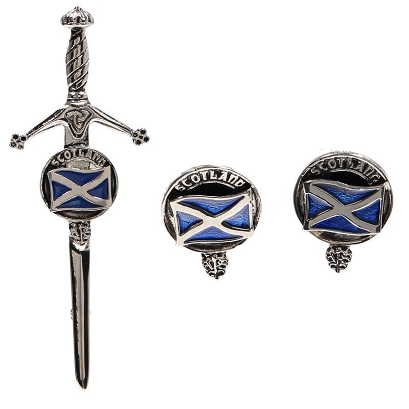 Clan Crest Boutons de manchette et Epingle de Kilt in Saltire Clan Crest
