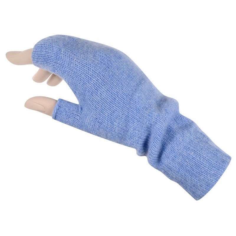 Women's Cashmere Fingerless Mitts in Light Blue