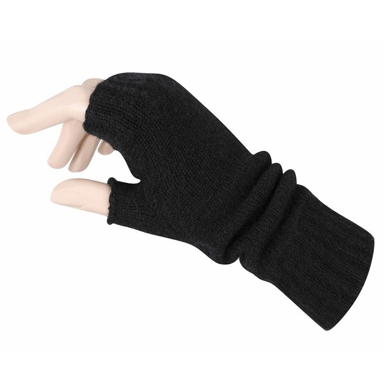 Women's Cashmere Fingerless Mitts in Black
