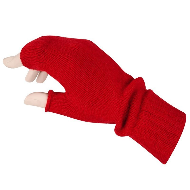 Women's Cashmere Fingerless Mitts in Cardinal Red