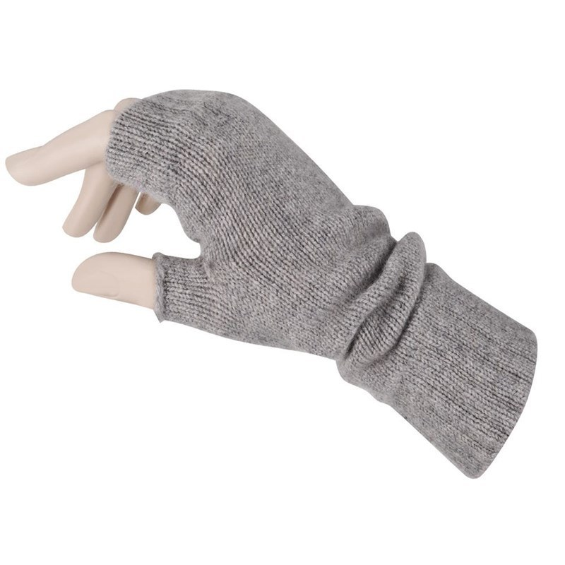Women's Cashmere Fingerless Mitts in Light Grey