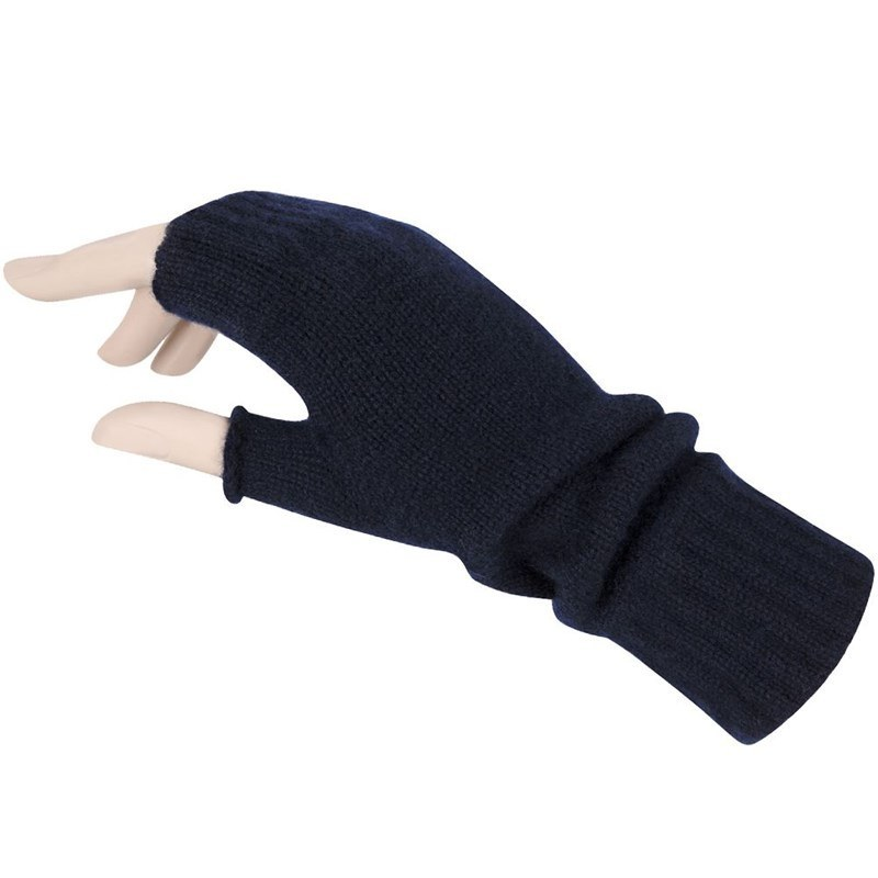 Women's Cashmere Fingerless Mitts in Navy Blue