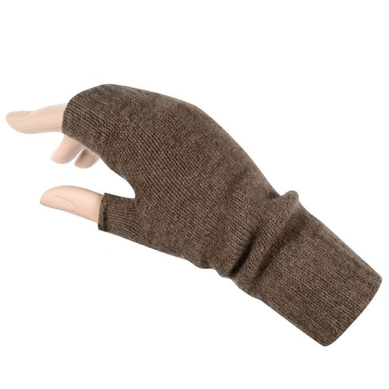 Women's Cashmere Fingerless Mitts in Otter