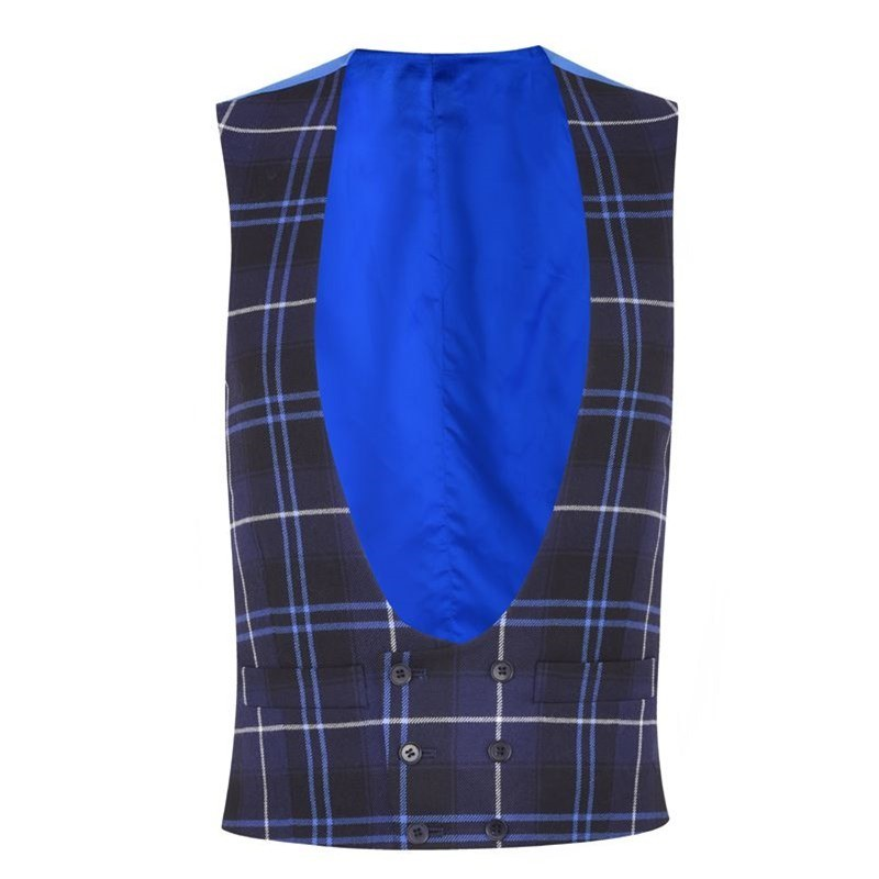 Men's Double Breasted Tartan Waistcoat with Horseshoe Neck in Patriot Modern
