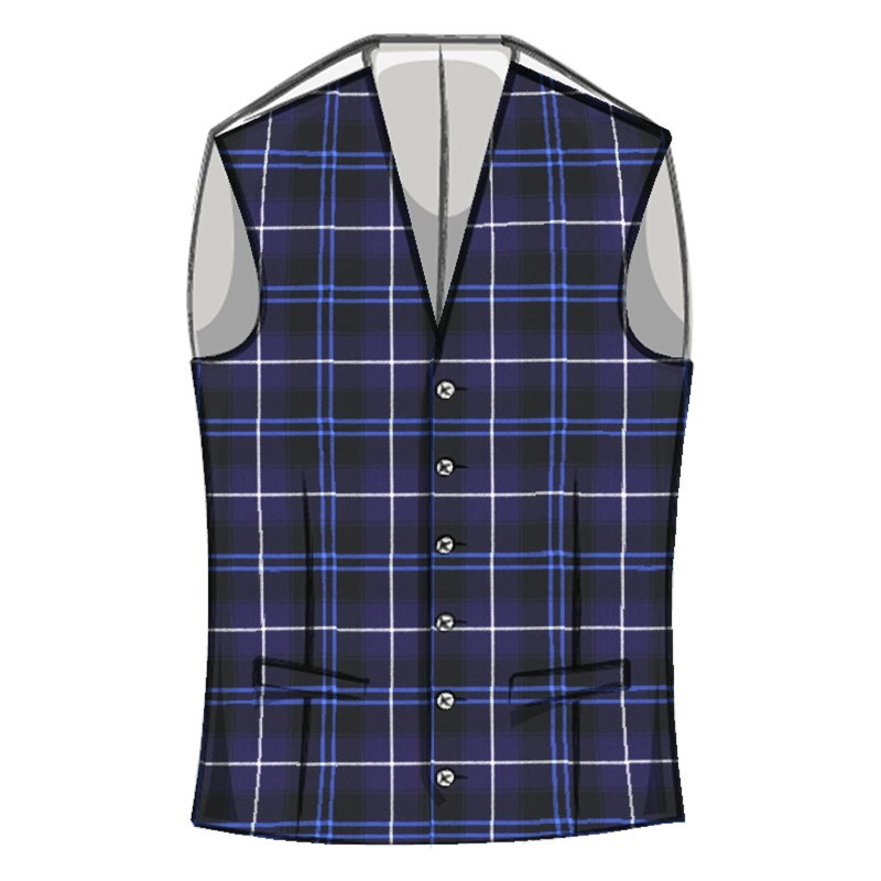Men's Wool Tartan Waistcoat With Straight Cut Bottom
