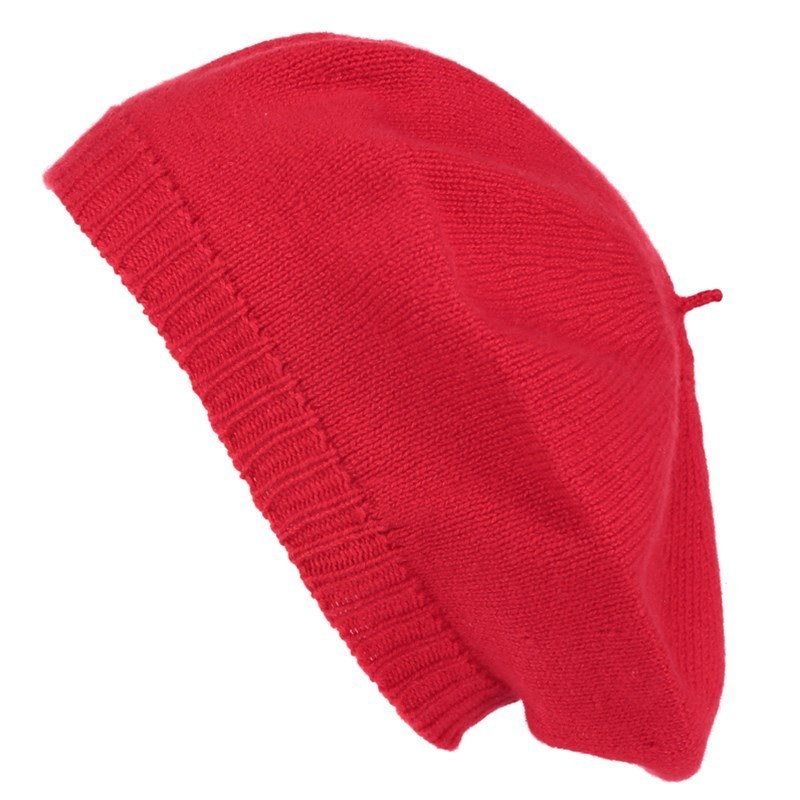 Cashmere Beret in Cardinal Red
