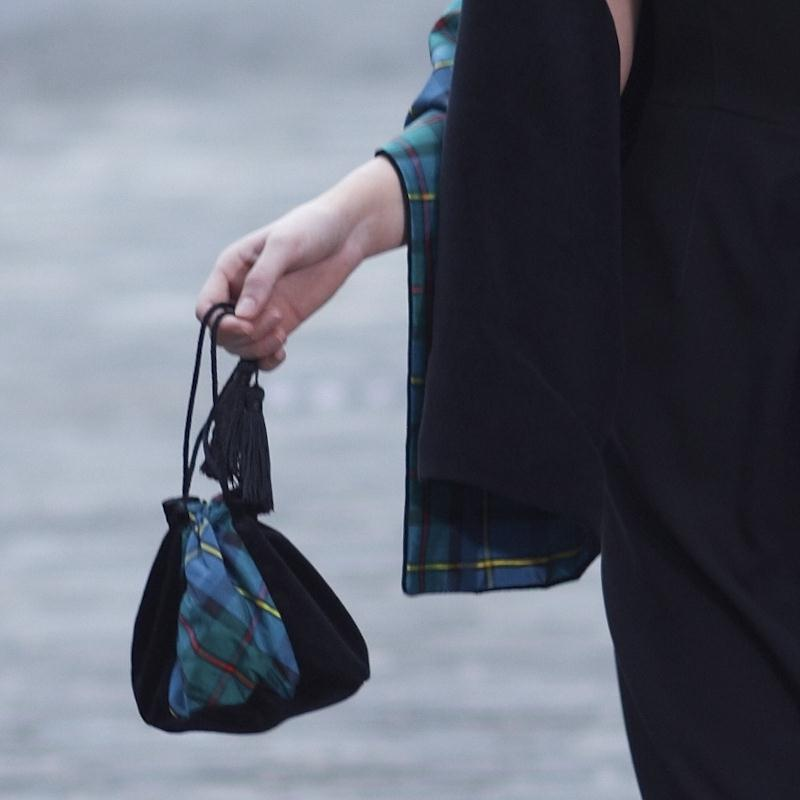 Velvet & Silk Plaid Evening Purse