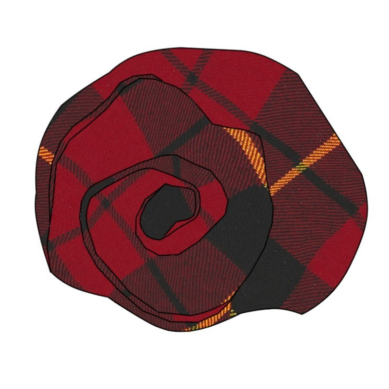 Tartan Rose Brosche aus Wolle in Wallace Modern