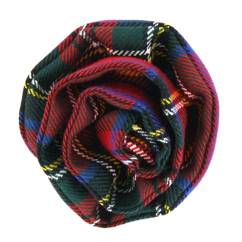 Tartan Rose Brosche aus Wolle in Stewart Royal