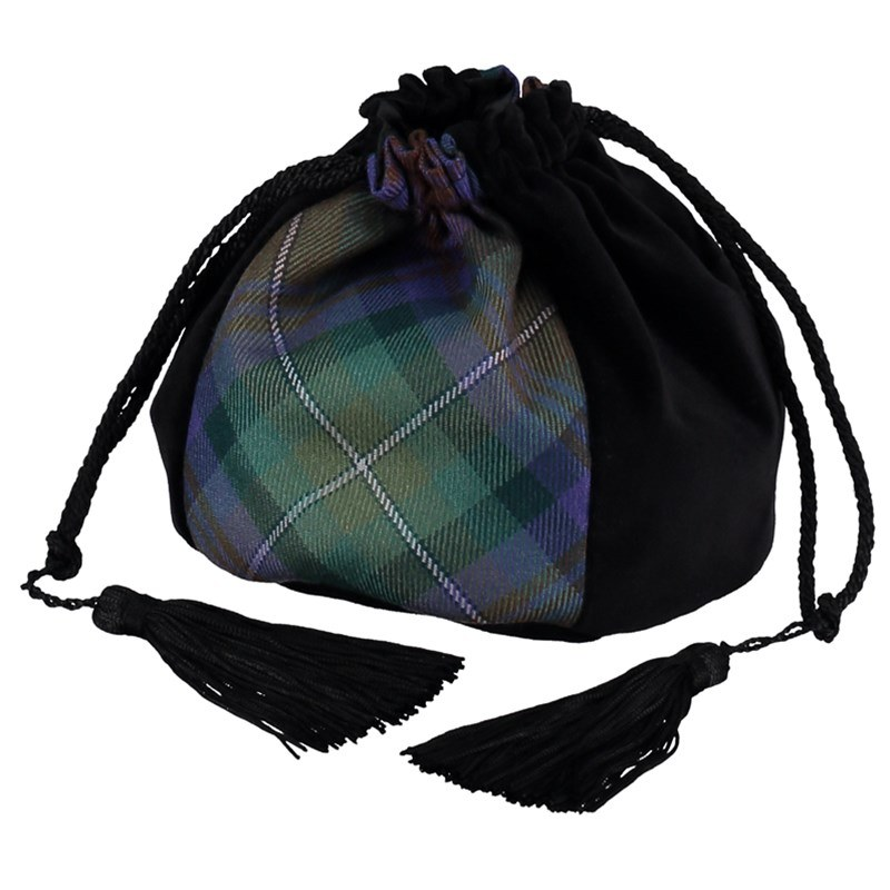 Velvet and Wool Tartan Evening Bag in Isle of Skye