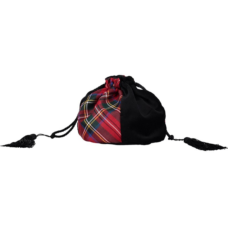 Velvet and Wool Tartan Evening Bag in Stewart Royal
