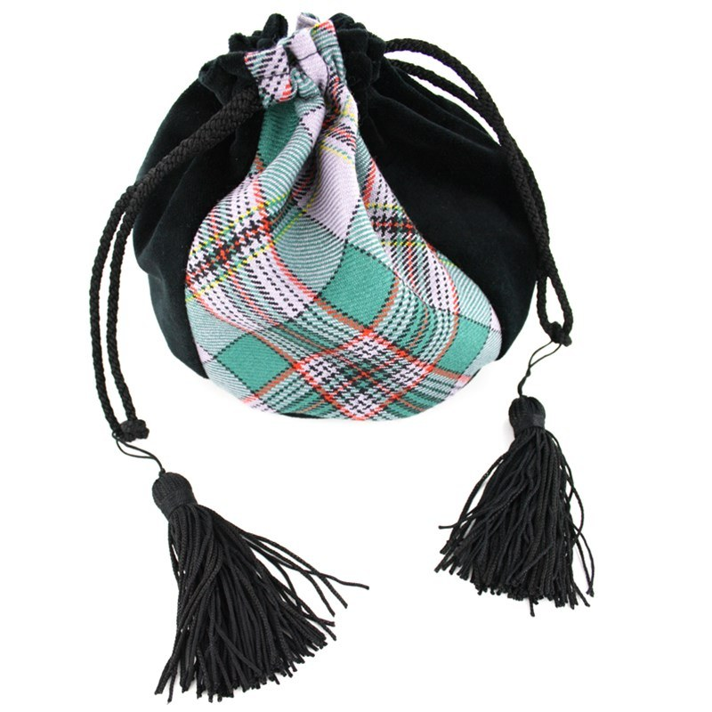Velvet and Wool Tartan Evening Bag in Craig Ancient