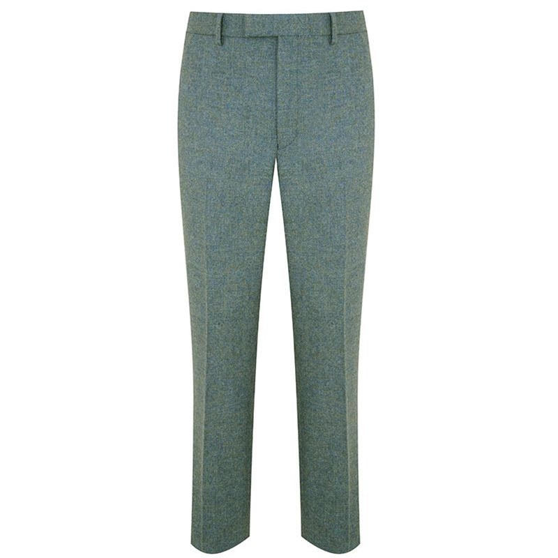 Men's Tweed Pants - Slim Cut in Cheviot Sea Green (CHE038)