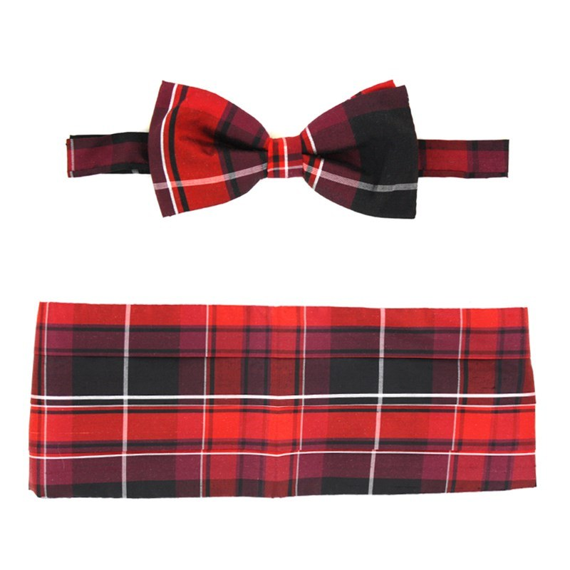 Pride of Scotland Silk Tartan Bow Tie & Cummerbund Set in Pride of Wales