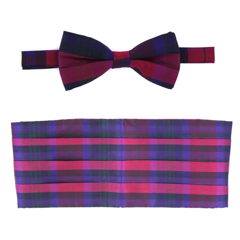 Pride of Scotland Silk Tartan Bow Tie & Cummerbund Set in Pride of Scotland Autumn