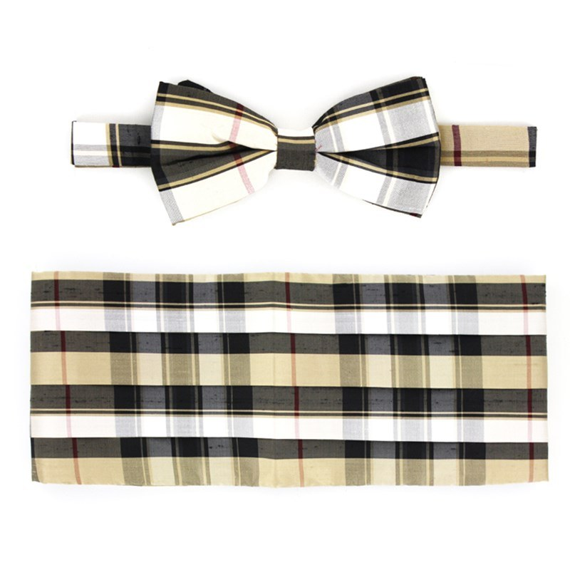 Pride of Scotland Silk Tartan Bow Tie & Cummerbund Set in Pride of Scotland Gold