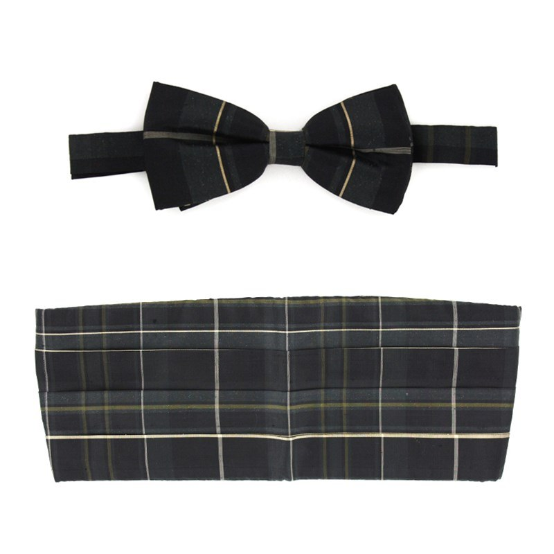 Pride of Scotland Silk Tartan Bow Tie & Cummerbund Set in Pride of Scotland Hunting