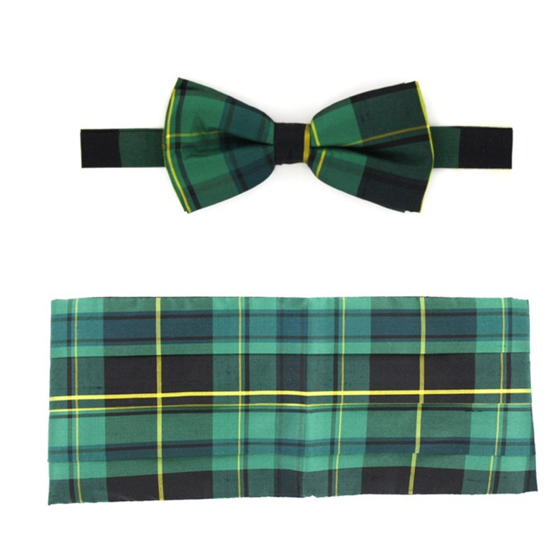 Pride of Scotland Silk Tartan Bow Tie & Cummerbund Set in Pride of Ireland