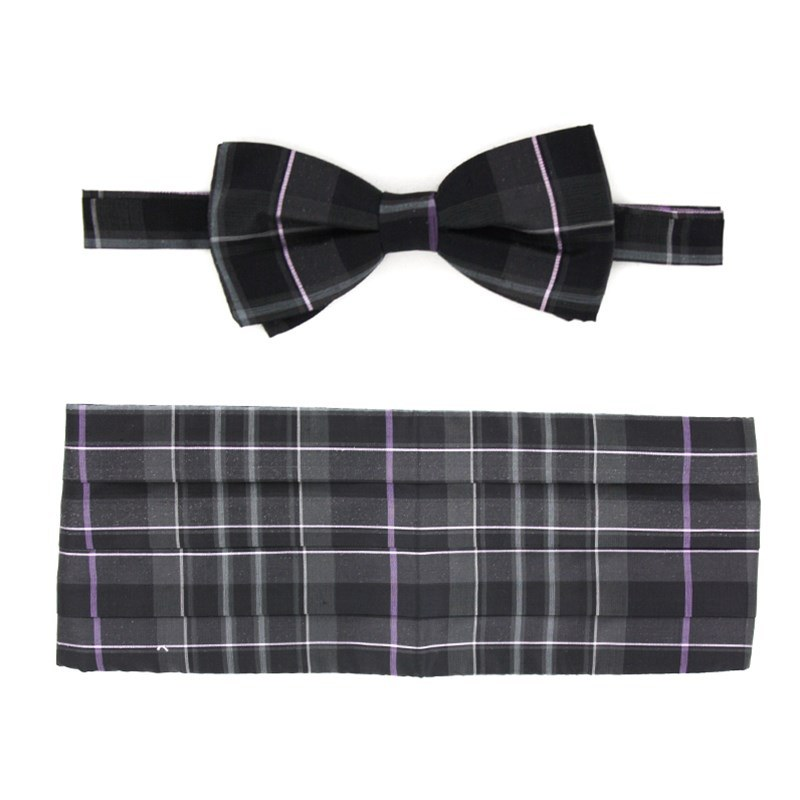 Pride of Scotland Silk Tartan Bow Tie & Cummerbund Set in Pride of Scotland Platinum