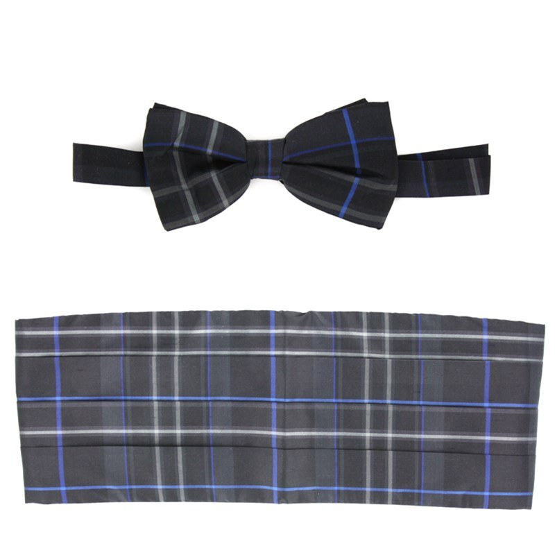 Pride of Scotland Silk Tartan Bow Tie & Cummerbund Set in Royal Pride