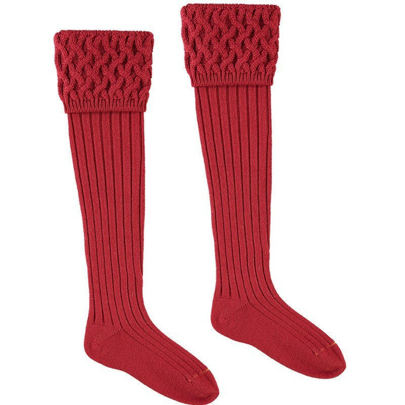 Calcetines en Merino Lujoso  in Brick Red