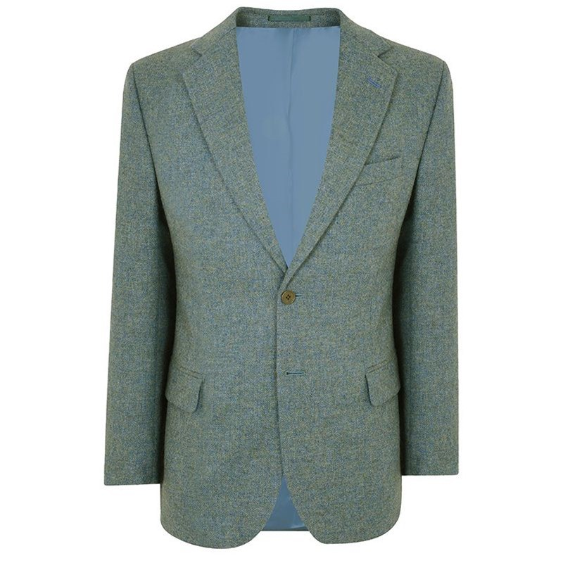 Veste en tweed ecossais in Cheviot Sea Green (CHE038)