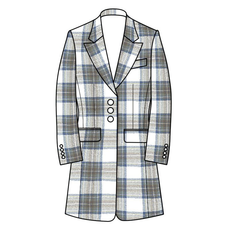 Women's Longline Plaid Jacket in Stewart Blue Dress