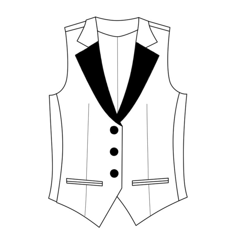 Women's Plaid Vest with Satin Lapels