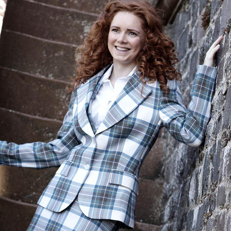 Women's Plaid Jacket 2 Button Fastening