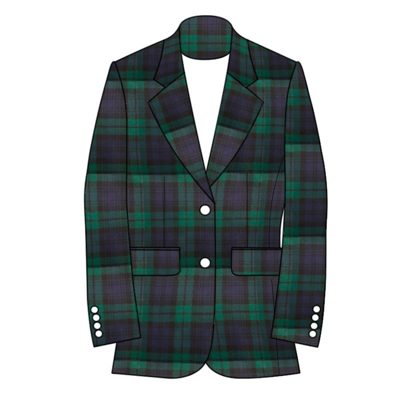 Women's Plaid Jacket 2 Button Fastening in Black Watch Modern