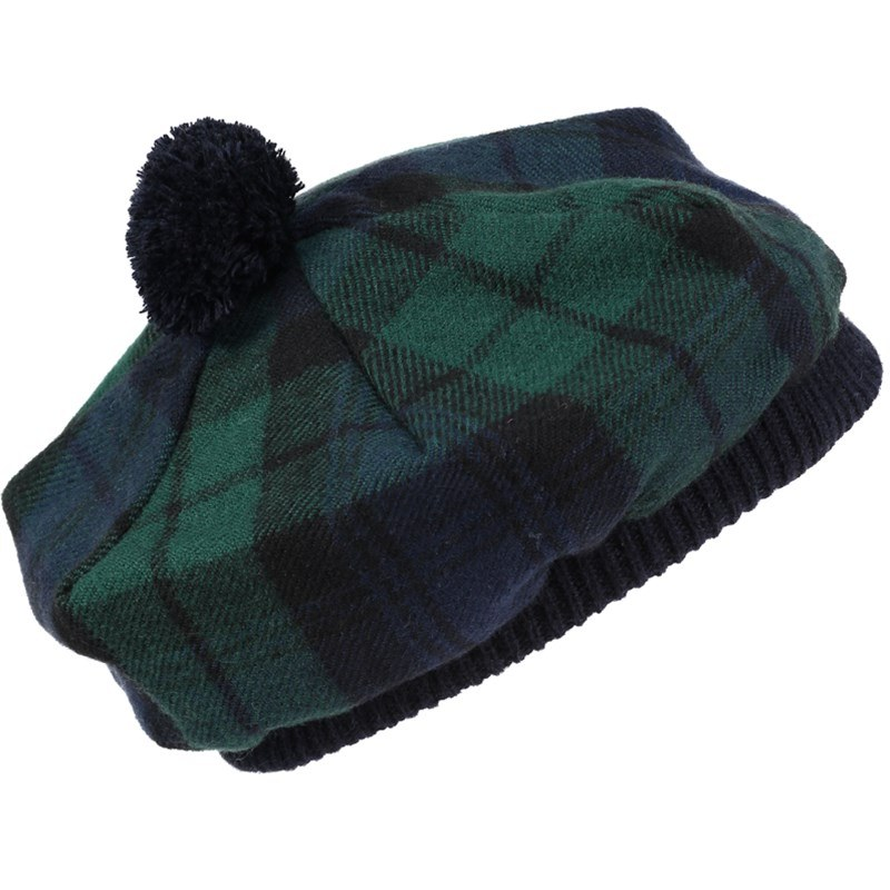 Tartan Tam aus gekämmte Wolle in Black Watch Modern