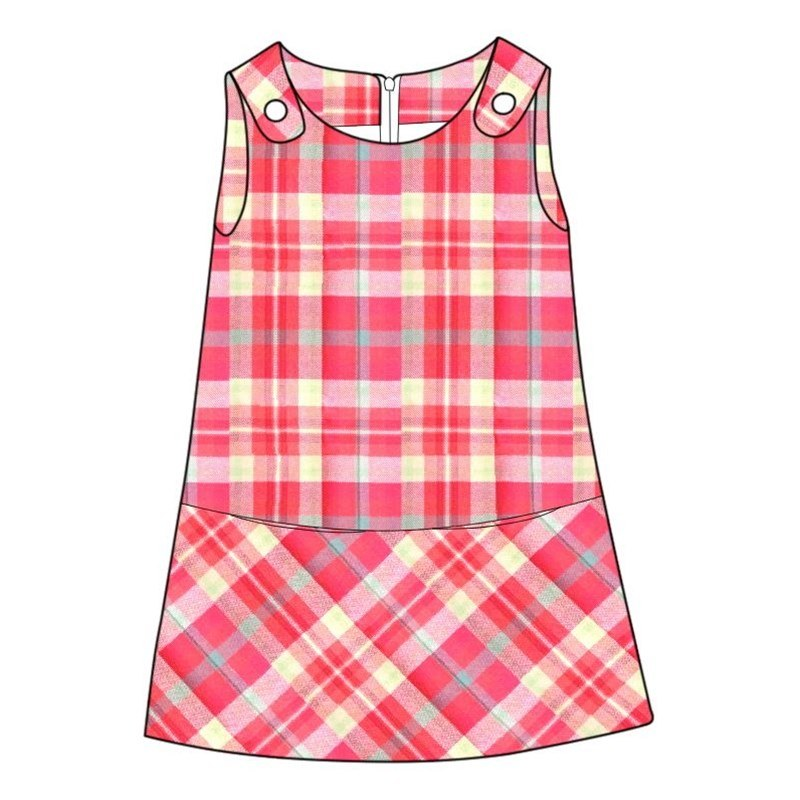 Girl's Plaid Pinafore Dress in Highland Rose