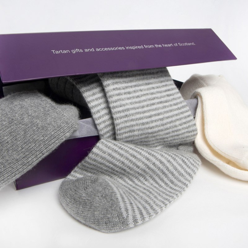 Women's Cashmere Socks Gift Set in Greys
