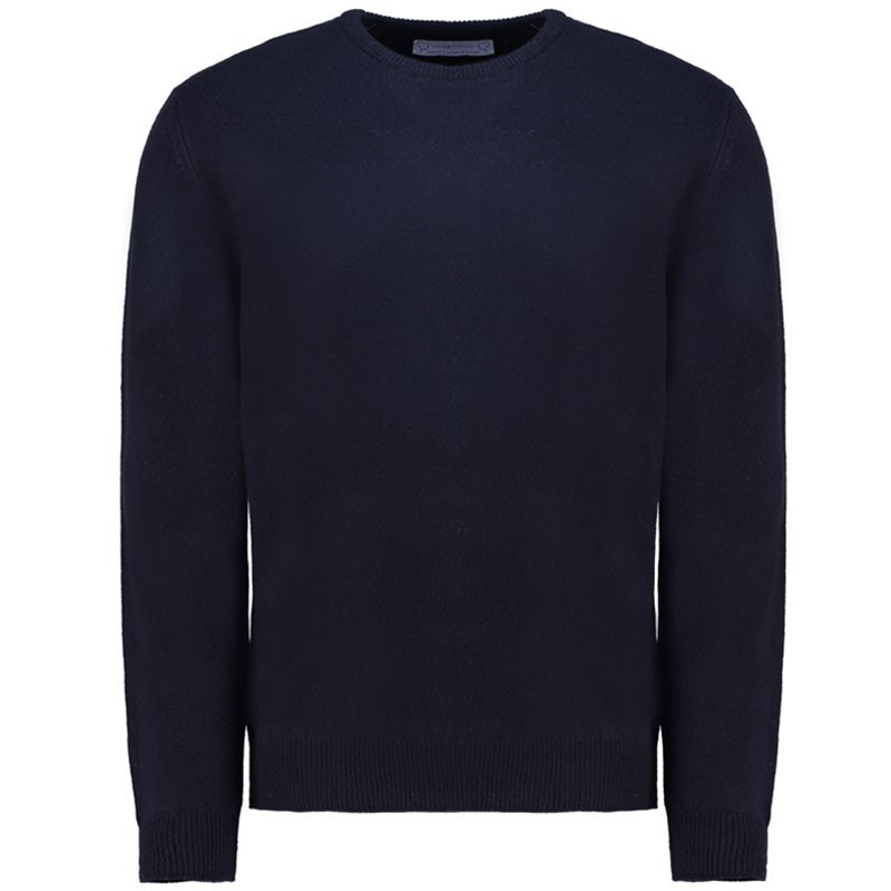 Men's Lambswool Round Neck Sweater in Navy