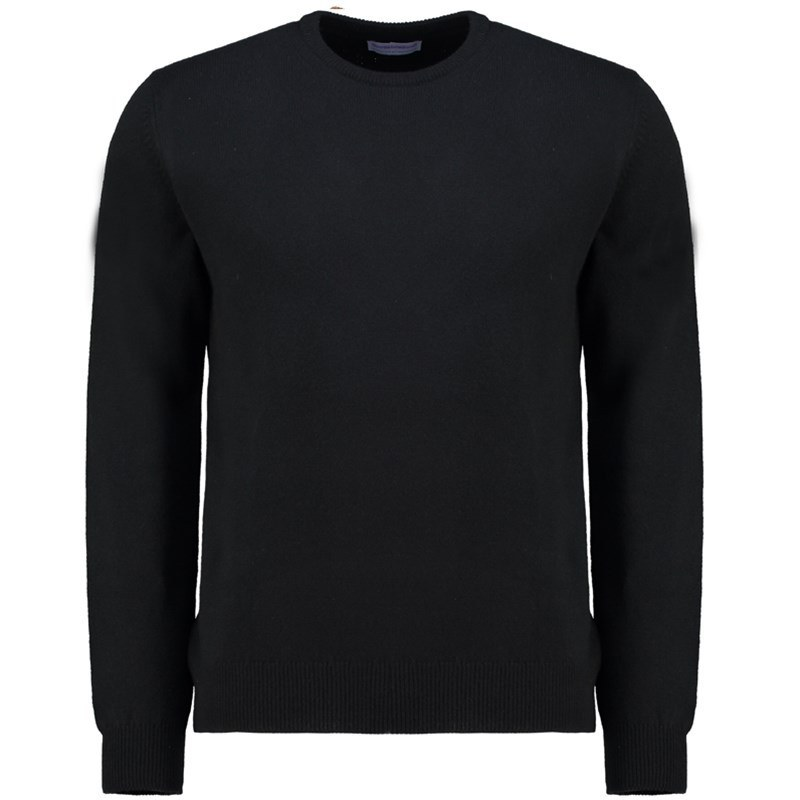 Men's Lambswool Round Neck Sweater in Black