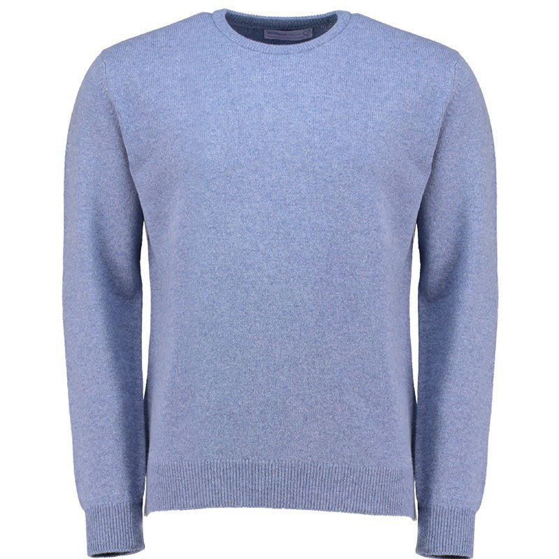 Men's Lambswool Round Neck Sweater in Blue Mix