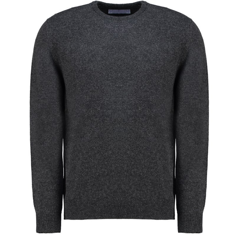 Men's Lambswool Round Neck Sweater in Charcoal