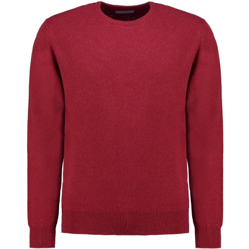 Men's Lambswool Round Neck Sweater in Magma