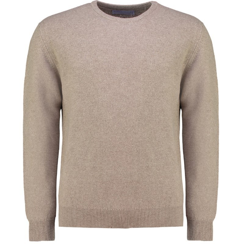 Men's Lambswool Round Neck Sweater in Mushroom