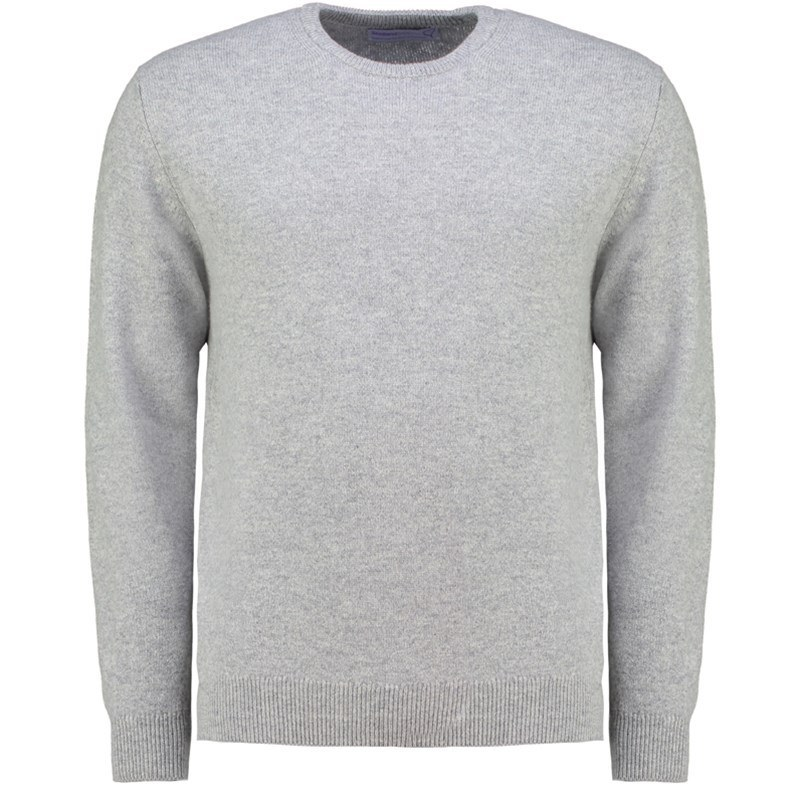Men's Lambswool Round Neck Sweater in Silver
