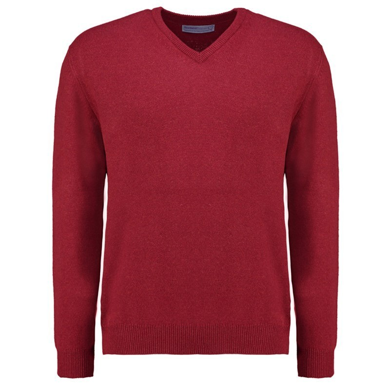 Men's Vee Neck Lambswool Sweater in Magma