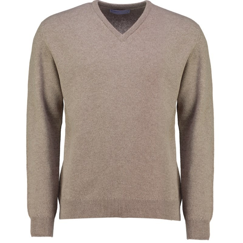 Men's Vee Neck Lambswool Sweater in Mushroom