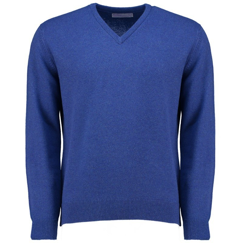 Men's V Neck Lambswool Sweater in Persian