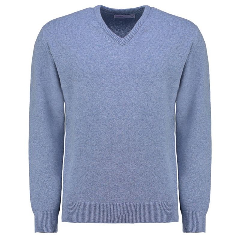 Men's Vee Neck Lambswool Sweater in Blue Mix