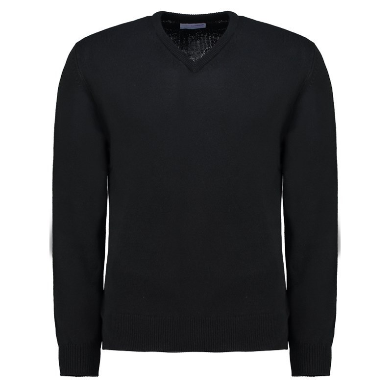 Men's Vee Neck Lambswool Sweater in Black