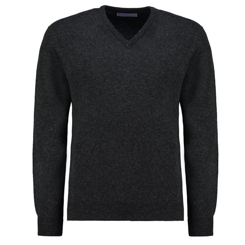 Men's Vee Neck Lambswool Sweater in Charcoal