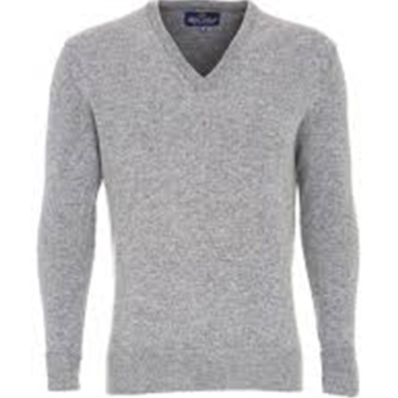 Men's Vee Neck Lambswool Sweater in Silver