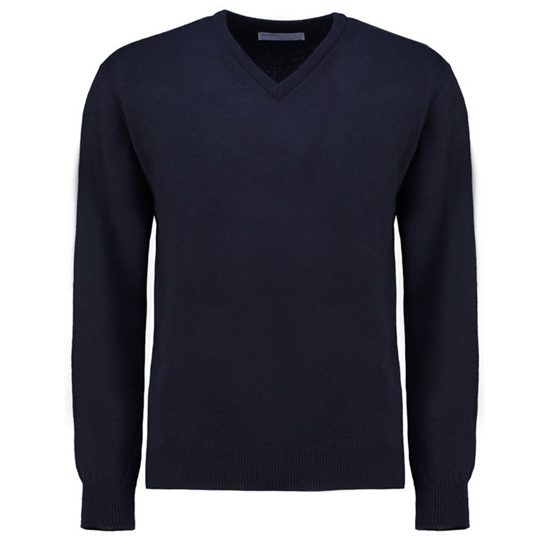 Men's Vee Neck Lambswool Sweater in Navy