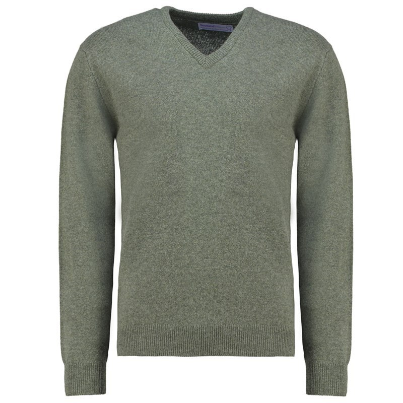 Men's Vee Neck Lambswool Sweater in Landscape